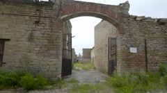 The open gate of the old building Stock Footage
