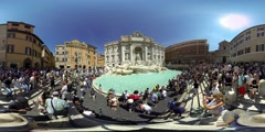 Fontana di Trevi, Rome, Italy. largest Baroque fountain in the city 360 video VR Stock Footage
