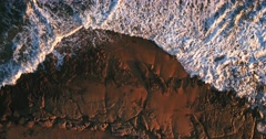 Rocky reef shoreline from above 4k Stock Footage