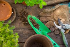 Overhead view of garden trowel and gloves on table Stock Photos