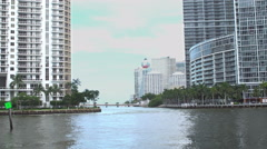 Miami river and Brickell key Stock Footage