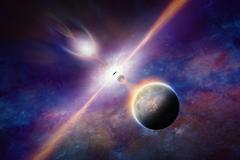 Black hole pulls planets and stars Stock Illustration