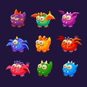Little Alien Monsters With And Without Wings Collection - stock illustration