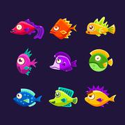 Colorful Tropical Fish Collection Stock Illustration