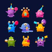 Fantastic Monsters With Birthday Party Objects - stock illustration