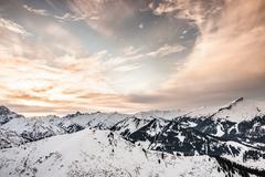 Snow capped mountains, Oberstdorf, Bavaria, Germany - stock photo