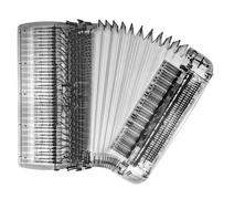 X-ray of an accordion on white background Stock Photos