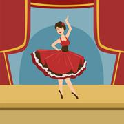 Ballerina In Stylized Spanish Dress Solo Dance - stock illustration