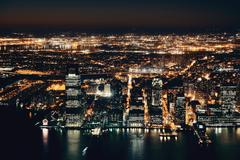 New York City downtown at night Stock Photos