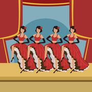 Four Dancers Doing Cancan On Theatre Stage - stock illustration