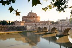 Castel Sant Angelo and River Tiber Rome Stock Photos
