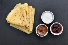 French pancakes with accompaniments Stock Photos
