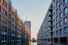 Historic warehouses and waterway, Speicherstadt, Hamburg, Germany - stock photo