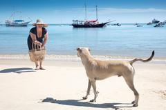 Mature woman playing with dog on beach, Fortaleza, Ceara, Brazil - stock photo