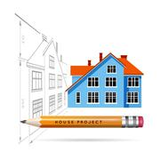 House icon and drawing with a pencil Stock Illustration