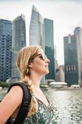 Tourist sightseeing, Singapore skyline, Marina Bay Stock Photos