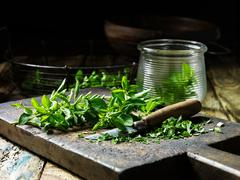 Marjoram, whole and chopped, some in glass jar, vintage knife, rustic wooden Stock Photos