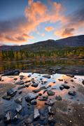Forest at Polygonal Lakes at dusk, Khibiny mountains, Kola Peninsula, Russia Stock Photos
