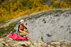 Portrait of female hiker, Khibiny mountains, Kola Peninsula, Russia Stock Photos