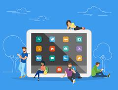 People with gadgets using tablets outdoors Stock Illustration