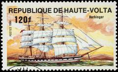 "Sails ""Harbinger"" on postage stamp Stock Photos"