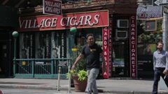 Village Cigars in Greenwich Village on the corner of 7th Ave close up Stock Footage