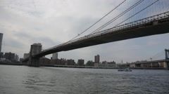 Wide of underside of Brooklyn Bridge Stock Footage