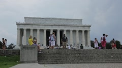 Tourist outside of Lincoln Monument Stock Footage