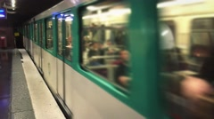 Crowded Subway Train Arrival at Platform In Paris, 4k Stock Footage