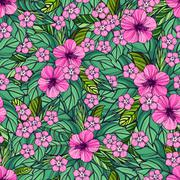 Summer colorful hawaiian seamless pattern with tropical plants and hibiscus - stock illustration