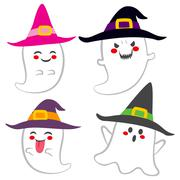 Cute Witch Ghosts Stock Illustration