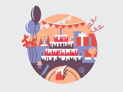 Birthday cake flat - stock illustration