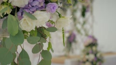 Design wedding party flowers focus white beauty Stock Footage