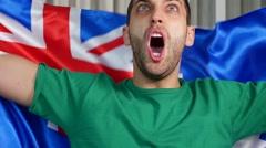 Australian Fan Cheering with Australia Flag - in Slow Motion - stock footage