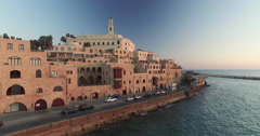 Aerial of old port of Jaffa city in Israel Stock Footage