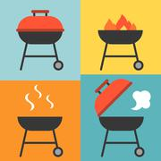 Vector barbecue and grill icons set,flat design Piirros