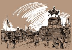 Drawing of Piazza Venezia in Rome - Altar of the Fatherland Ital Stock Illustration