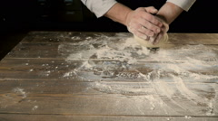 Chief Hands Kneading a Dough For Bakering Stock Footage