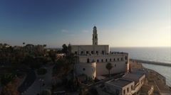 Aerial of St. Peter's Church and cityscape in Jaffa Stock Footage