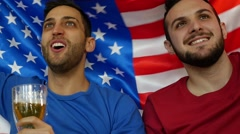 American Friends Celebrating with USA Flag - in Slow Motion - stock footage