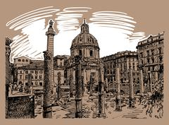 Original sketch hand drawing of Rome Italy famous cityscape, tra Stock Illustration