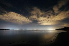 Sky and clouds over Puget Sound at night, Seattle, Washington, USA - stock photo