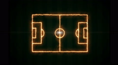 Top view of soccer field or football field, fire lines on field layout. Stock Footage
