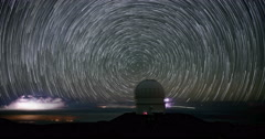 Milky Way Galaxy Star Time Lapse Spinning behind Mauna Kea Observatory, Big Isla Stock Footage