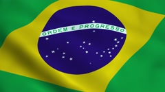 Realistic Brazil flag Stock Footage