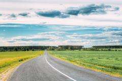 Asphalt Freeway, Motorway, Highway Country Road In Countryside Stock Photos