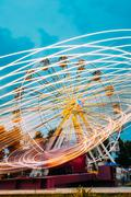Motion Blurred Of High Speed Rotating Attraction Amusement Park Stock Photos