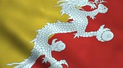 Realistic Bhutan flag Stock Footage