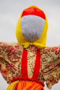Close Faceless Straw Effigy Of Dummy Maslenitsa, Eastern Slavic Religious Stock Photos