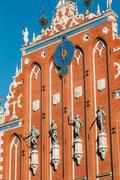 Sculptures On The Facade Of The House Of Blackheads In Riga, Latvia Stock Photos